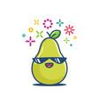 pear fruit smiling sunglasses kawaii emoticon vector image