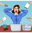 Pop Art Angry Frustrated Woman Screaming at Office vector image vector image