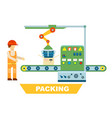 robotic packing conveyor isolated concept vector image vector image