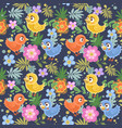 seamless decorative ornament birds and flowers vector image