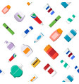 seamless pattern various cosmetic bottles vector image vector image