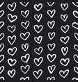seamless pattern with chalk drawing hearts vector image