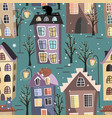 seamless winter city houses cats and trees vector image vector image
