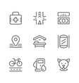 set line icons of public navigation vector image vector image