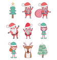 set santa claus with elf and deer to christmas vector image