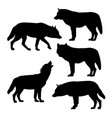 silhouettes of gray wolves vector image