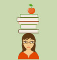 smiling girl with books and apple vector image vector image