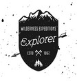 wilderness expedition vintage badge emblem vector image vector image