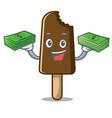 with money bag chocolate ice cream mascot cartoon vector image vector image