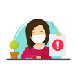 woman person advise wear medical face mask vector image vector image