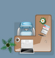 workplace concept with flowers coffee and office vector image vector image