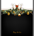 festive balls fir trees and cones on the vector image