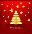 red christmas background with stars and gold vector image