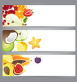3 bright fruit banners for your designs vector image vector image