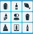 alcohol icons set with shaker pizza with vector image