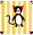 Black Cat with Ribbon Full Body on Yellow Line vector image