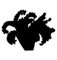 black silhouette of cartoon colored plant with vector image