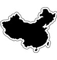 black silhouette of the country china with the vector image