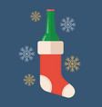 bottle beer in christmas stocking vector image vector image