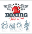 Boxing labels and icons set vector image vector image