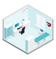 Cabinet cardiologist isometric room set vector image vector image