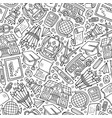 cartoon hand-drawn back to school seamless pattern vector image