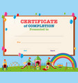 certificate template with kids in playground vector image