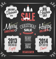 chalkboard style vintage christmas elements vector image vector image