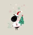 christmas card with cute moose vector image