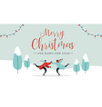 christmas card young couple ice skating outdoors vector image vector image
