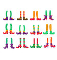 christmas elf feet in pants and boots isolated set vector image