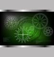 cogwheels on a green vector image vector image