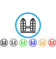 company building rounded icon vector image vector image
