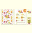cute colorful kids meal menu template vector image