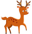 Cute deer cartoon running wild character vector image