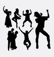 Dancer male and female pose silhouette vector image