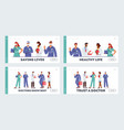 doctor characters in medical robe in row landing vector image vector image
