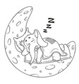 elephant he sleeps on the moon cartoon vector image