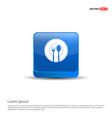 fork and spoon icon - 3d blue button vector image