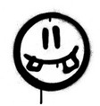 graffiti silly smiling icon face in black white vector image vector image