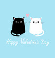 Happy valentines day black white cute cat sitting