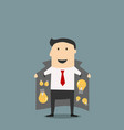 Innovative businessman in jacket selling ideas vector image