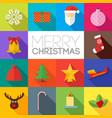 Merry christmas flat icons set vector image