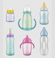 nutritional kids bottles measuring containers for vector image