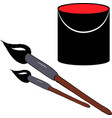 paint brushes and paint bucket vector image