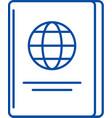 passport line icon concept passport flat vector image