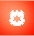 police badge icon isolated on orange background vector image vector image