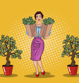 Pop Art Happy Rich Woman Holding Bags with Money vector image vector image