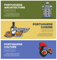 portuguese architecture and cuisine internet promo vector image vector image