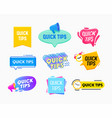 quick tips helpful tricks emblems and banners set vector image
